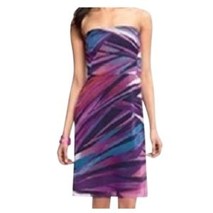 Banana republic multicolor printed strapless dress